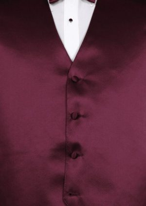 aubergine vest and bow tie