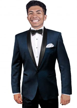 Navy with Black Shawl Collar Prom Tuxedo
