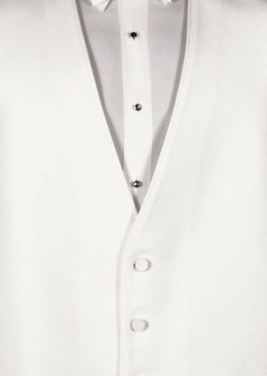 white 3 button fullback vest edged with satin and a white satin bow tie