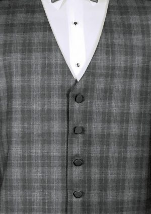 Grey plaid 5 button fullback wool vest with charcoal satin bow tie