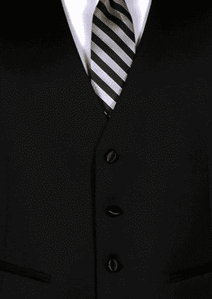 Black super 120's wool 4 button fullback vest with a black and silver striped Windsor tie