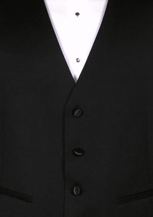 Black super 120's wool 4 button fullback vest with a black and silver medallion bow tie