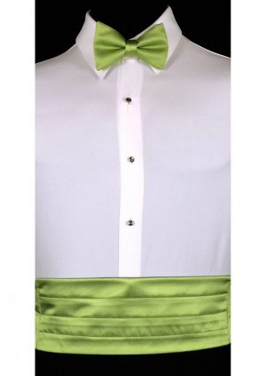 apple green satin cummerbund and matching bow tie