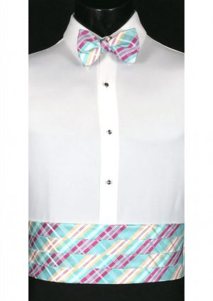 Aqua, fuchsia and plaid cummerbund and matching bow tie