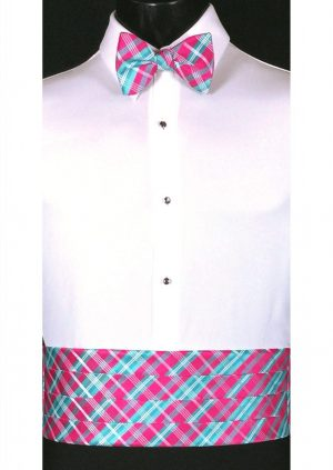 Blue, Fuchsia & White Plaid Cummerbund and matching bow tie
