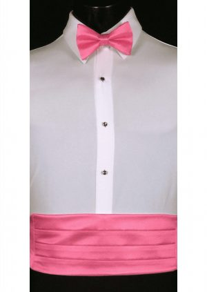 Bubblegum Pink Solid Satin Cummerbund and matching bow tie