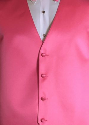 Bubblegum 4 button fullback solid satin vest with matching bow tie