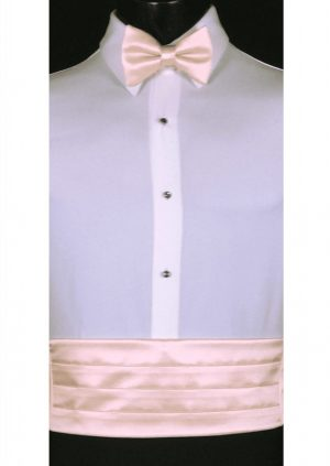 Blush Pink satin Cummerbund and matching bow tie