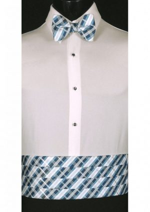 Blue, Navy & White Plaid Cummerbund and matching bow tie