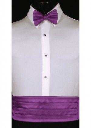 Bright Purple satin Cummerbund and matching bow tie