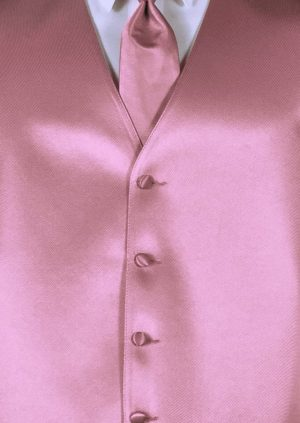 Dusty Rose 4 button fullback solid satin vest with matching Windsor tie