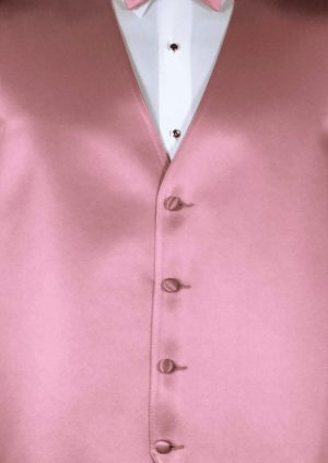Dusty Rose 4 button fullback solid satin vest with matching bow tie