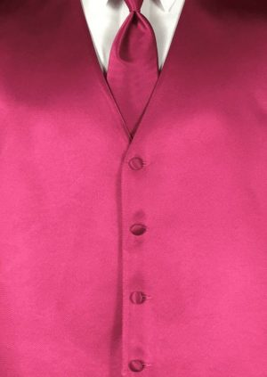 Fuchsia 4 button fullback solid satin vest with matching Windsor tie