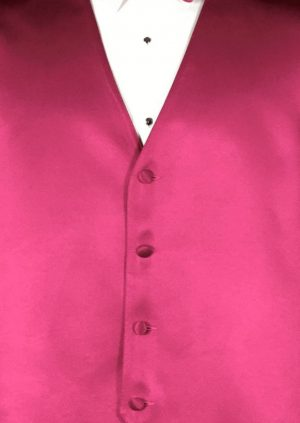 Fuchsia 4 button fullback solid satin vest with matching bow tie