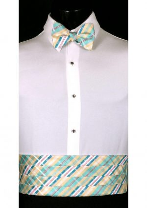 Gold, Blue & White Plaid Cummerbund and bow tie