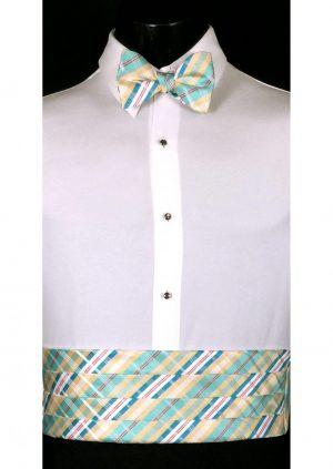 Gold, Blue & White Plaid Cummerbund and bow tie