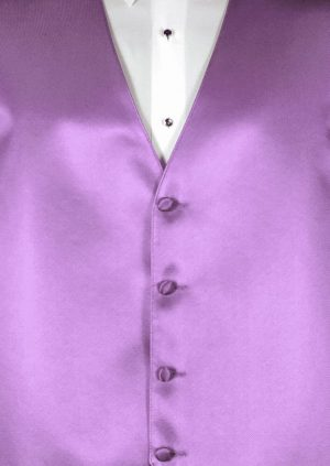 Lavender 4 button fullback solid satin vest with matching bow tie