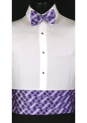 Lilac, Purple & White Plaid Cummerbund and bow tie
