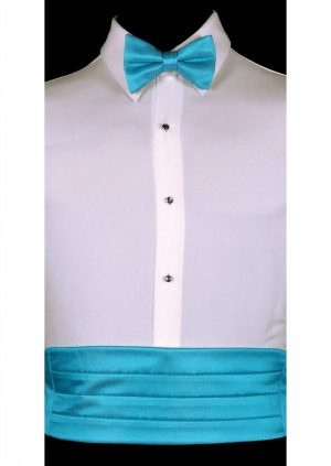 Malibu Blue Satin Cummerbund and matching bow tie