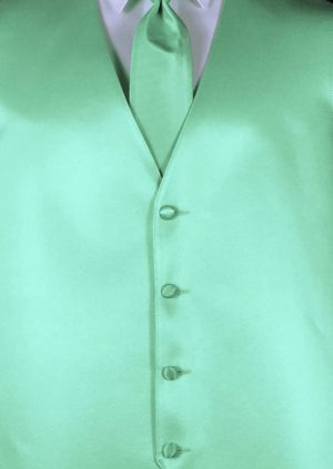 Mint 4 button fullback solid satin vest with matching Windsor tie