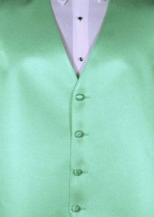Mint 4 button fullback solid satin vest with matching bow tie