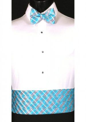 Malibu, Navy & White Plaid Cummerbund and bow tie