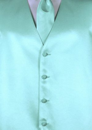 Mint Green 4 button fullback solid satin vest with matching Windsor tie