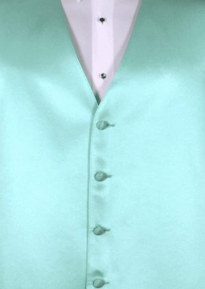 Mint Green 4 button fullback solid satin vest with matching bow tie