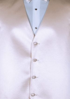 Nude 4 button fullback solid satin vest with matching bow tie