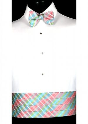 Pink, Grey, Lime & Blue Plaid Cummerbund and bow tie