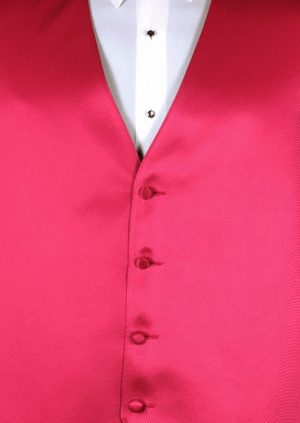 Raspberry 4 button fullback solid satin vest with matching bow tie