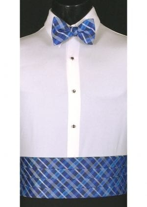 Royal blue and marine plaid cummerbund and matching bow tie