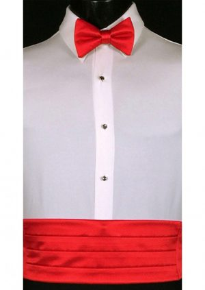 Red satin cummerbund and matching bow tie