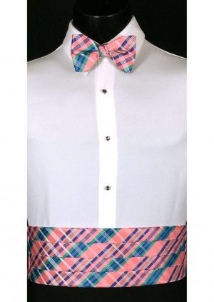 Salmon, Blue & Green Plaid Cummerbund and bow tie