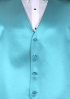 Turquoise satin vest and bow tie