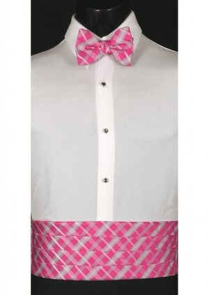 Watermelon, Grey & Pink Plaid Cummerbund and bow tie