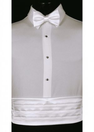 White Cummerbund and bow tie