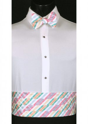 White, Pink & Blue Plaid Cummerbund and bow tie