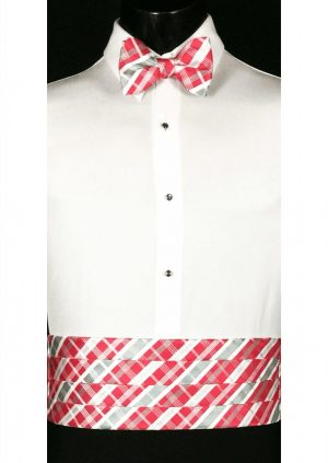 White, Pink & Grey Plaid Cummerbund and bow tie