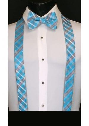 Malibu blue plaid suspenders