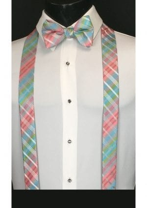 pink and blue plaid suspenders