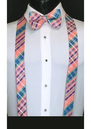 salmon colored plaid suspenders