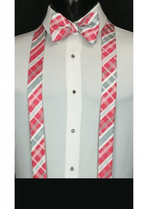 Pink Grey Plaid Suspenders