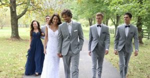 Wedding Couples wearing tuxedos and dresses