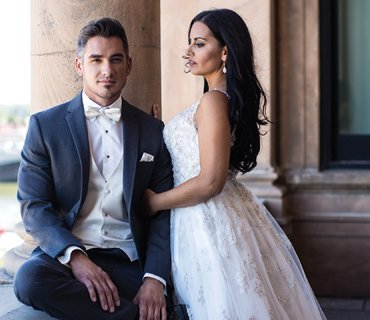 groom and bride picture click here to see selection of tuxedo and suit rentals